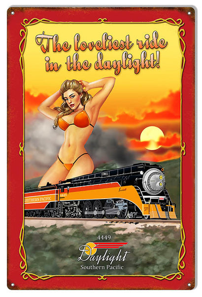 Reproduction Loveliest Ride Daylight Railroad Pin Up Girl Metal  Sign 12″x18″