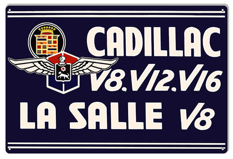 Reproduction Large Cadillac La Salle V8 Garage Shop Metal  Sign 16″x24″