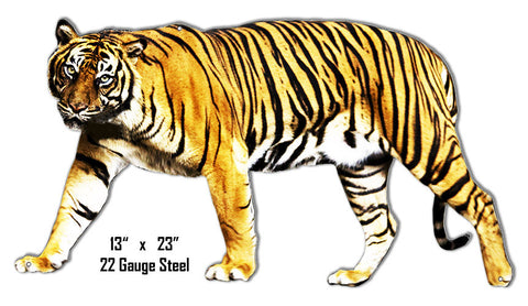 Tiger Animal Wall Art Laser Cut Out Metal  Sign 13.5″x24″