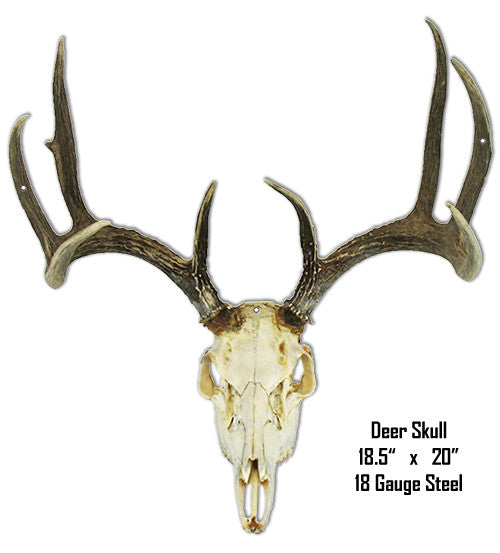 Deer Skull Animal Wall Art Laser Cut Out Metal  Sign 18.5″x20″