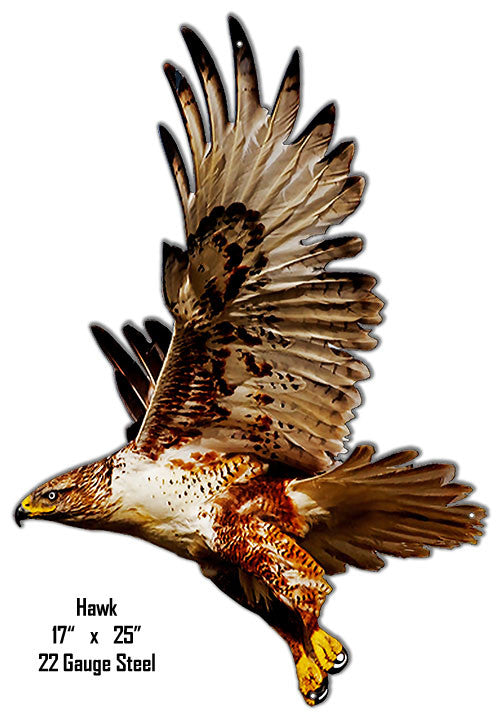 Hawk Animal Wall Art Laser Cut Out Metal  Sign 17″x25″