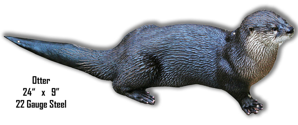Otter Animal Wall Art Laser Cut Out Metal  Sign 9″x24″