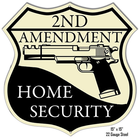 Reproduction 2ND Amendment Home Security Laser Cut Out Metal  Sign 15″x15″