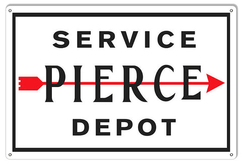 Reproduction Pierce Service Depot Gas Station Metal  Sign 12″x18″