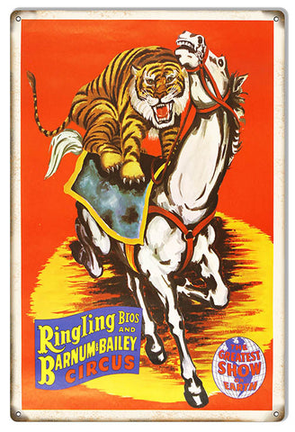 Reproduction Barnum Bailey Tiger Horse Circus Metal  Sign 12″x18″