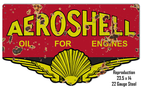 Reproduction Aeroshell Oil Laser Cut Out Metal  Sign 14″x23.5″
