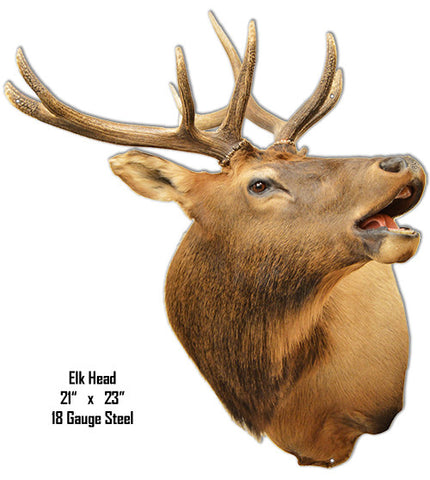 Elk Head Animal Wall Art Laser Cut Out Metal Sign 21″x23″