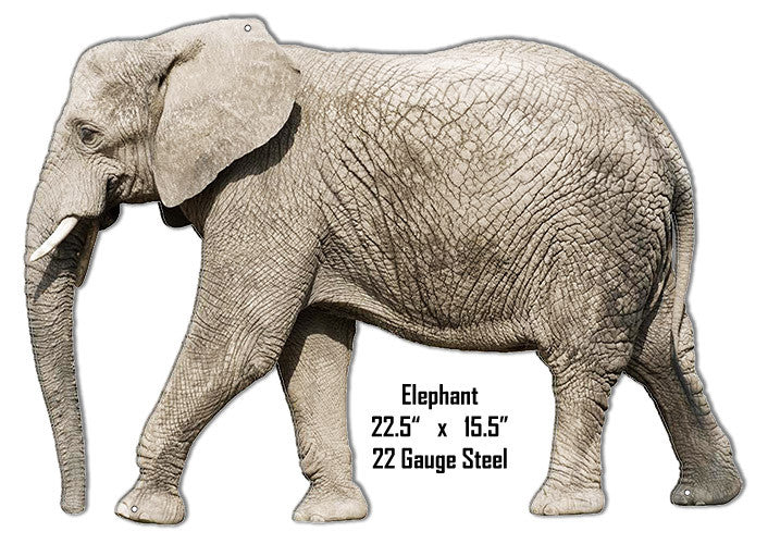 Elephant Animal Wall Art Laser Cut Out Metal Sign 15.5″x22.5″