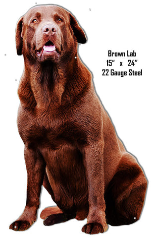Brown Lab Animal Wall Art Laser Cut Out Metal Sign 15″x24″