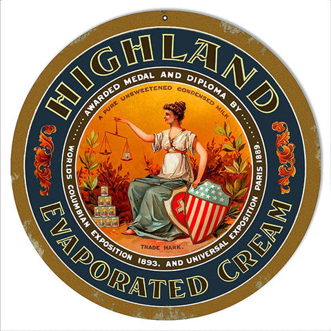 Highland Evaporated Cream Country Metal Sign 14″ Round