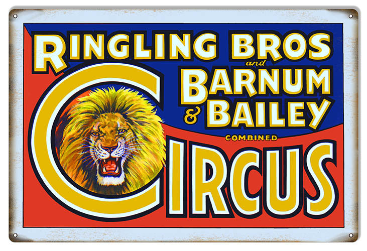Blue And Red Ringling Bros Reproduction Circus Metal Sign 12″x18″