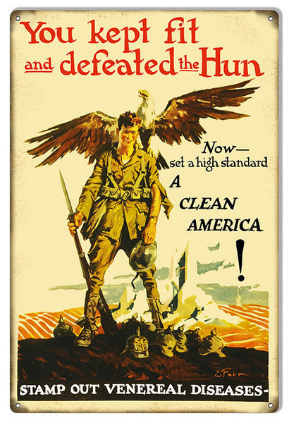 A Clean America Reproduction Funny Warning Metal Sign 12″x18″