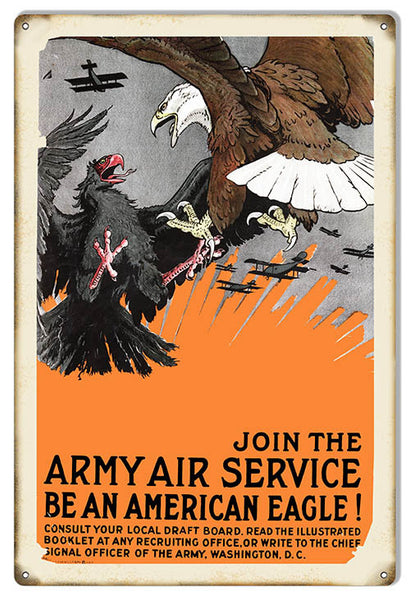 American Eagle Army Services Reproduction Military Metal Sign 12″x18″