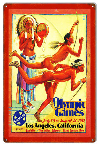 Santa Fe Olympic Games Reproduction Railroad Metal Sign 12″x18″