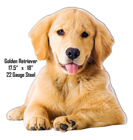 Baby Golden Retriever Wall Art Laser Cut Out Metal Sign 17.5″x18″