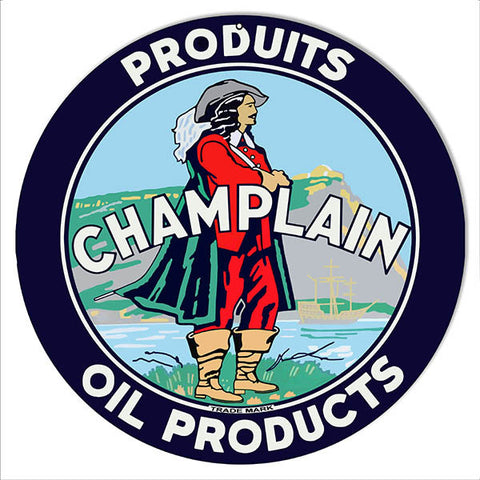 Champlain Oil Products Reproduction Motor Oil Metal Sign 14″ Round