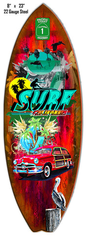 Surf California Reproduction By Artist Phil Hamilton 8″x23″