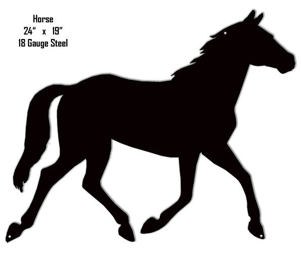 Galloping Horse Silhouette Laser Cut Out Metal Sign 19″x24″