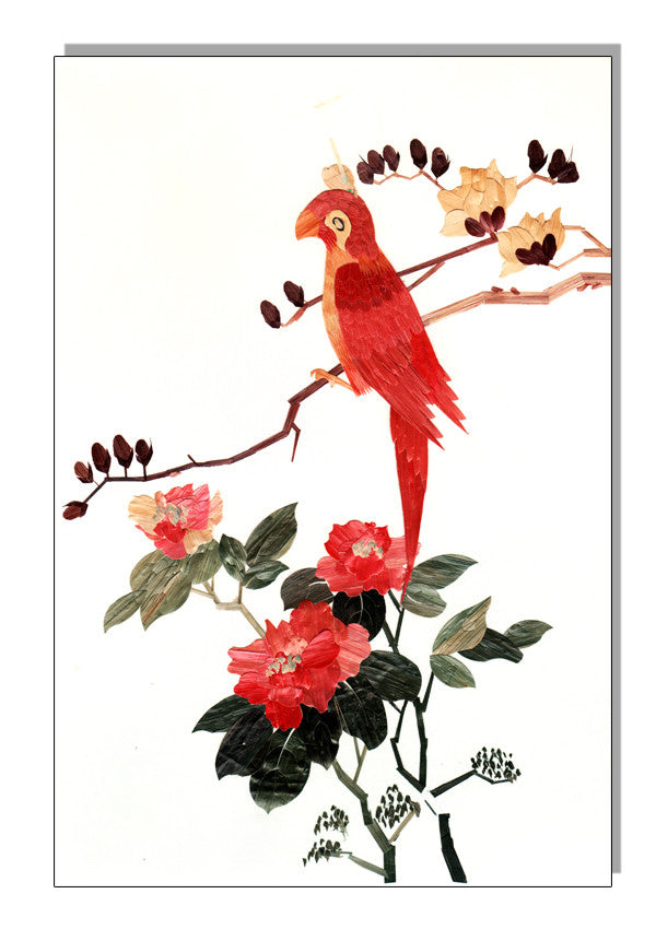 Red Bird 1920s Silk Art Reproduction Metal Sign 12″x18″