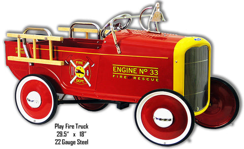Play Fire Truck Laser Cut Out Metal Sign 18″x29.5″