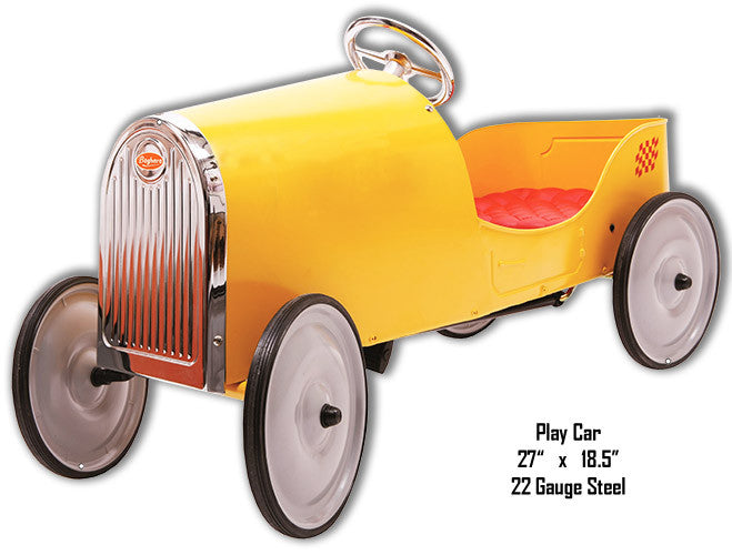 Yellow Play Car Laser Cut Out Metal Sign 18.5″x27″
