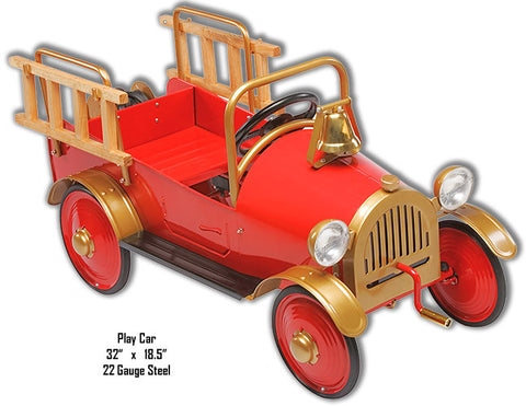 Red Play Car Laser Cut Out Metal Sign 18.5″x32″