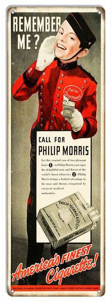 Aged Looking Philip Morris Cigarette Ad Reproduction Metal Sign 6″x18″