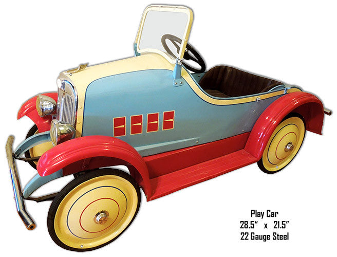 Laser Cut Out Nostalgic Play Car Metal Sign 21.5″x28.5″
