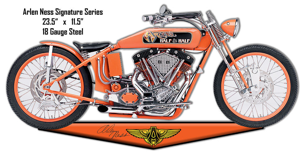 Tangerine Arlen Ness Motorcycle Reproduction Cut Out Metal Sign 11.5″x23.5″