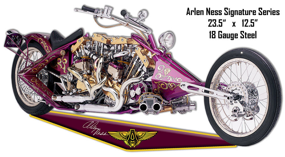 Maroon Arlen Ness Motorcycle Reproduction Cut Out Metal Sign 12.5″x23.5″