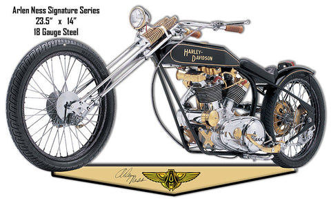 Black And Gold Arlen Ness Reproduction Motorcycle Cut Out Metal Sign 14″x23.5″