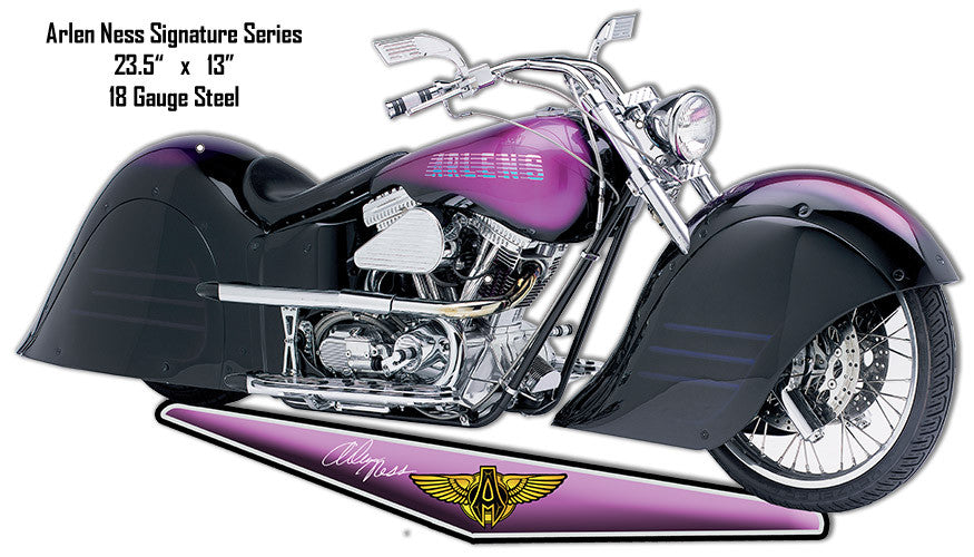 Purple Arlen Ness Motorcycle Cut Out Reproduction Metal Sign 13″x23.5″