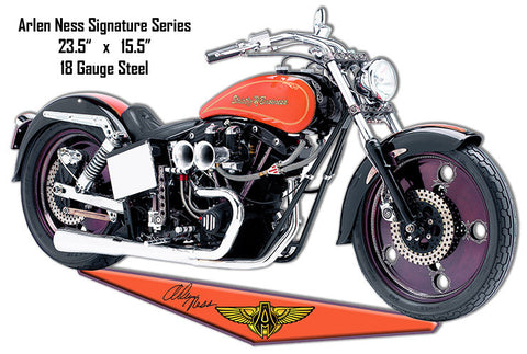 Arlen Ness Reproduction Motorcycle Cut Out Metal Sign 15.5″x23.5″
