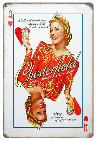 Double Your Pleasure Chesterfield Cigarette Reproduction Metal Sign 12″x18″