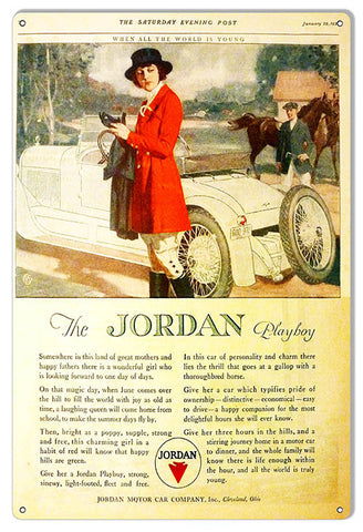 The Jordan Playboy Vintage Reproduction Automobile Metal Sign 12″x18″