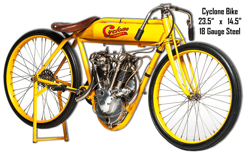 Yellow Cyclone Bike Laser Cut Out Metal Sign 14.5″x23.5″