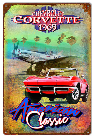1965 Chevy Corvette Reproduction Metal Sign By Artist Phil Hamilton 12″x18″