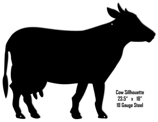 Cow Silhouette Laser Cut Out Metal Sign 18″x23.5″
