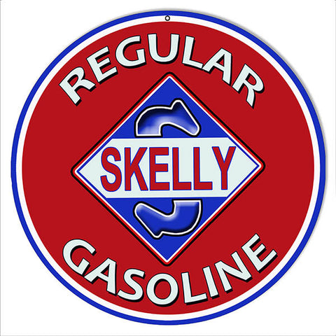 Regular Skelly Gasoline Reproduction Motor Oil Metal Sign 14″ Round