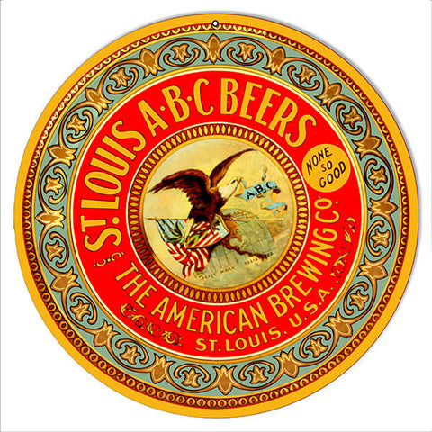 ABC Beers Reproduction Bar Metal Sign 14″ Round