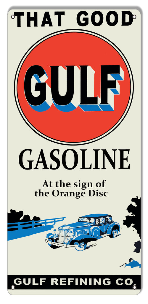 Good Gulf Gasoline Reproduction Motor Oil Metal Sign 11″x24″
