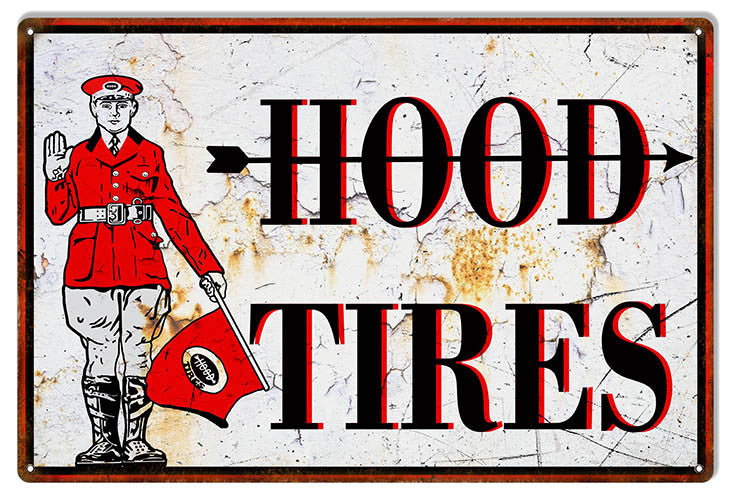 Distressed Hood Tire Reproduction Garage Shop Metal Sign 12″x18″