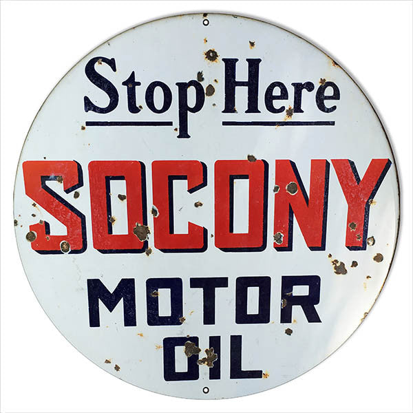 Aged Looking Large Reproduction Socony Motor Oil Metal Sign 18″ Round