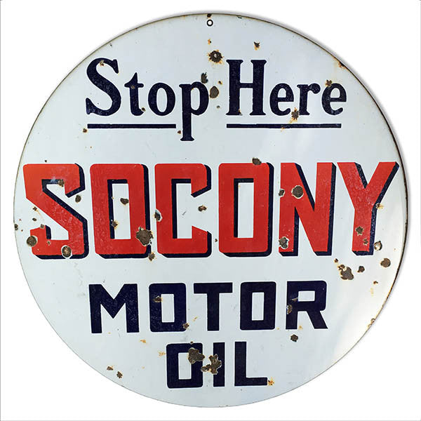 Reproduction Distressed Socony Motor Oil Metal Sign 14″ Round