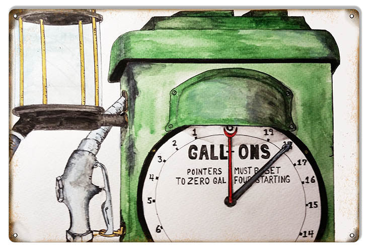 Gas Pump Gallons Gas Station Reproduction Metal Sign 12″x18″