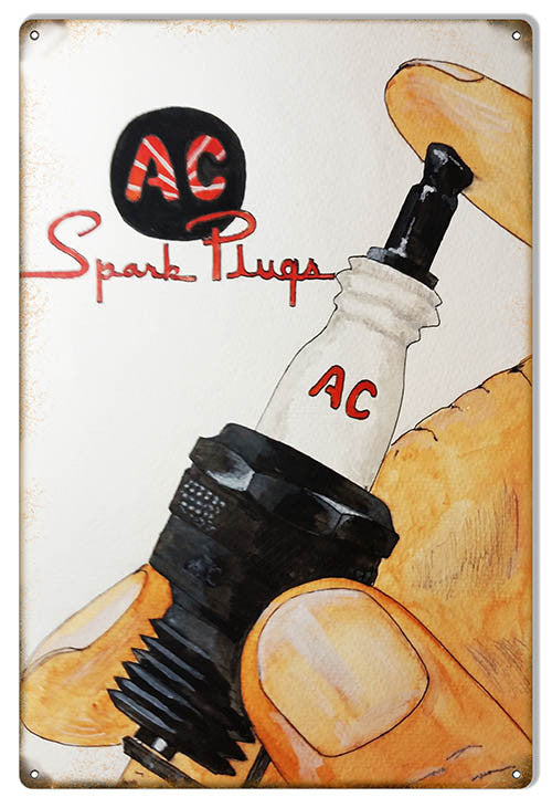 AC Spark Plugs Gas Station Reproduction Metal Sign 12″x18″