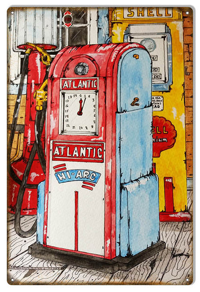 Aged Atlantic Gas Station Pump Reproduction Metal Sign 12″x18″