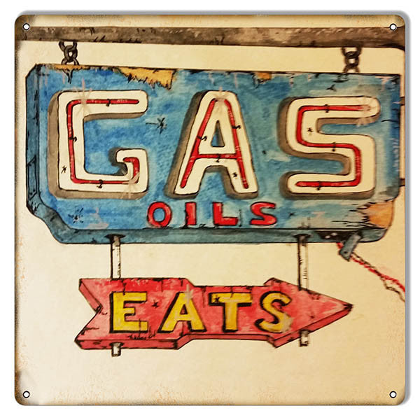Gas Oil Eats Gas Station Reproduction Metal Sign 12″x12″
