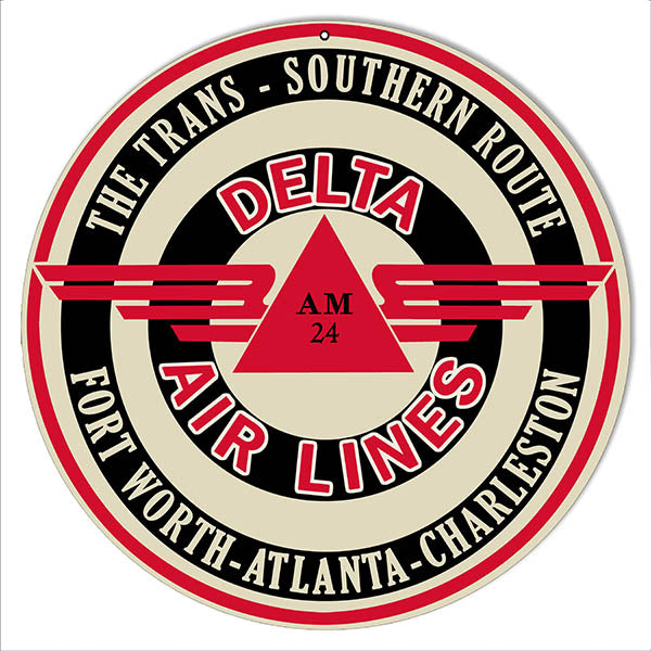Delta Airlines Southern Route Reproduction Sign 14, Round