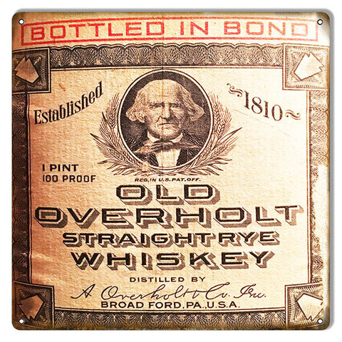 Reproduction Old Overholt Whiskey Bar Metal Sign 12″x12″